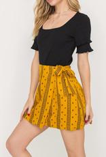 Lush Boho Print Wrap Skirt