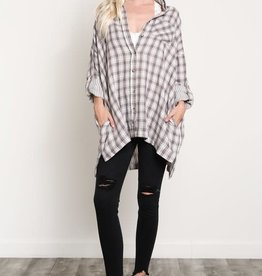 Wishlist Oversized Plaid Button Up