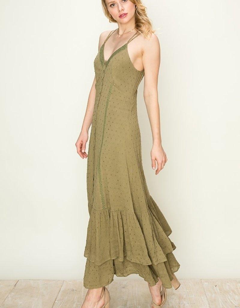 HYFVE Swiss Dot Ruffle Midi Dress