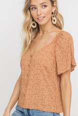 Lush Paisley Button Blouse