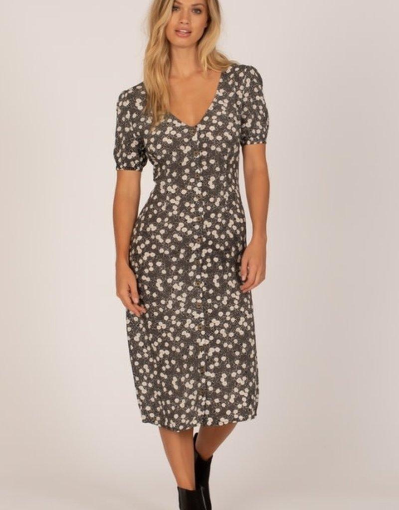 Amuse Society Button Floral Midi Dress