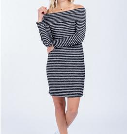 Everly Off Shoulder Stripe Dress