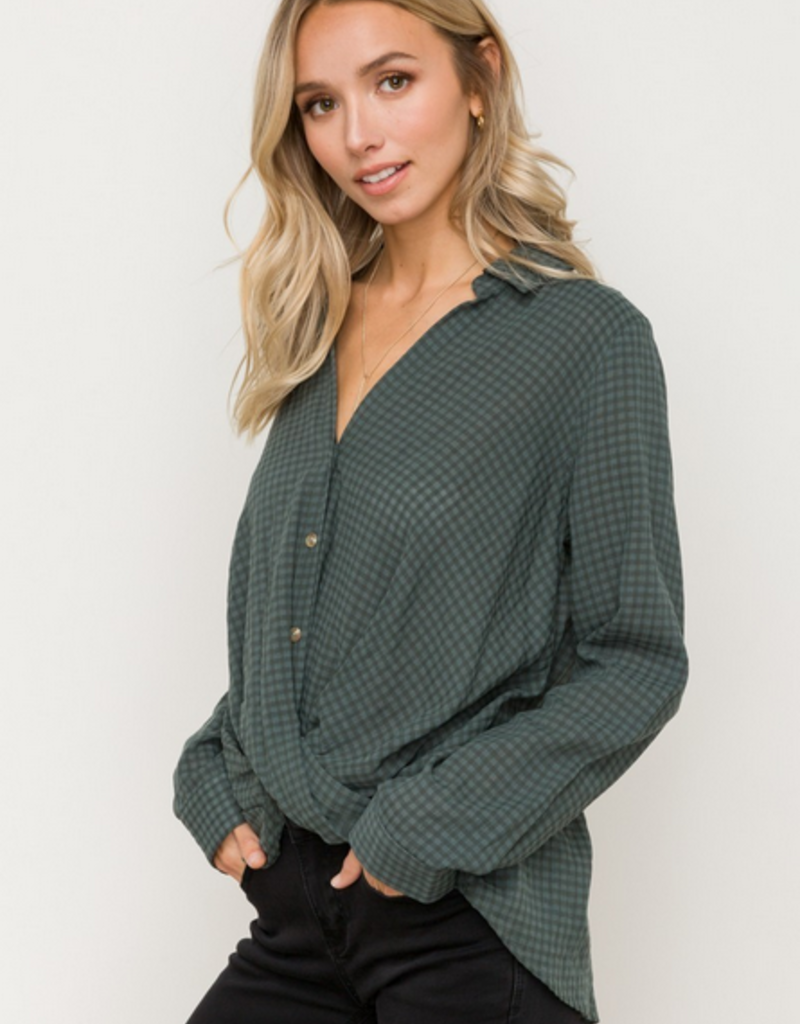 Hem & Thread Check Button Blouse
