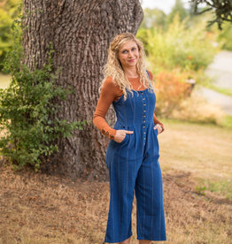 Billabong Button Up Wide Leg Jumpsuit