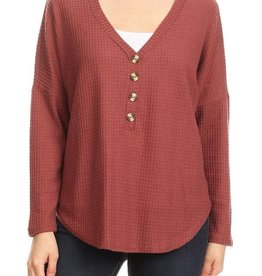 Ginger G Button Waffle Knit