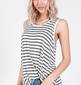 Emma's Closet Striped Side Tuck Modal Top