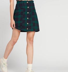 Volcom Button Up Plaid Skirt