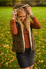 Love Tree Hooded Sherpa Vest