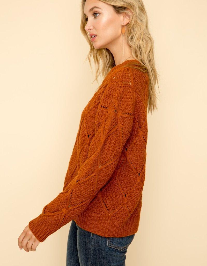 Hem & Thread Argyle Crew Sweater