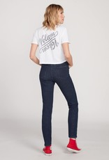 Volcom Striped Button Fly High Rise Skinny Jeans