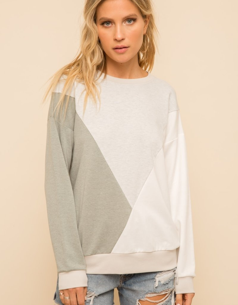 Hem & Thread Angled Color Block Sweatshirt