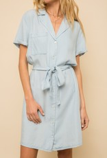 Hem & Thread Short Sleeve Chambray Dress