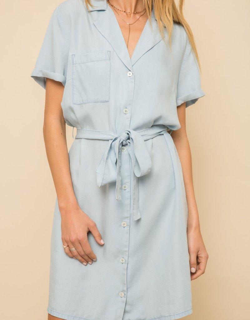 Hem & Thread Short Sleeve Chambray Dress