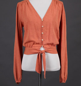 Final Touch Knotted Button Blouse