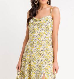 Lush Floral Slit Midi Dress