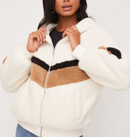 Lush Hooded Chevron Sherpa Coat
