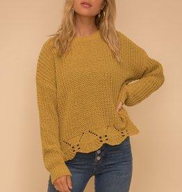 Hem & Thread Scalloped Chenille Sweater