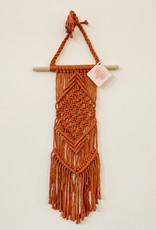 A Freyed Knot Macrame Long Rust Diamond Wall Hanging