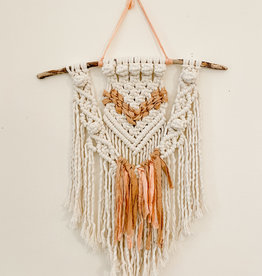 A Freyed Knot Macrame Peachy Berry Wall Hanging