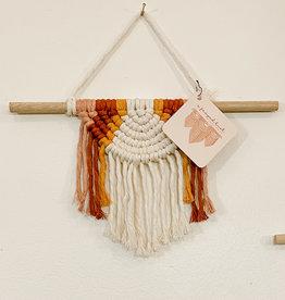 A Freyed Knot Macrame Half Moon Wall Hanging - Natural, Rose, Rust, Mustard