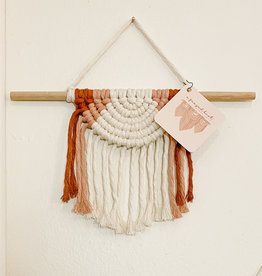 A Freyed Knot Macrame Half Moon Wall Hanging - Natural, Rust, Pink