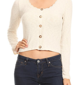 Ginger G Lace Trim Button Up Top