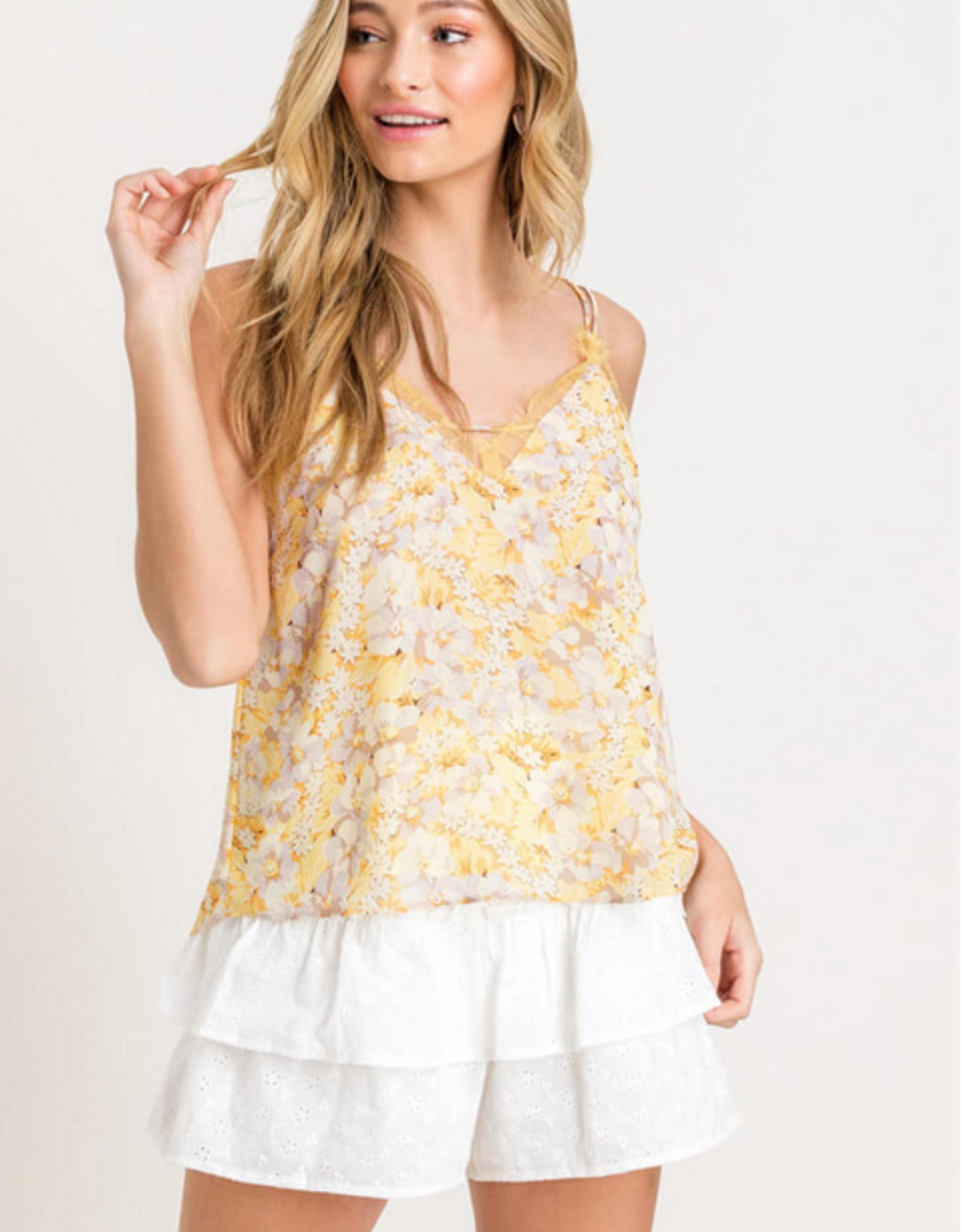 Lush Lace Trim Floral Top