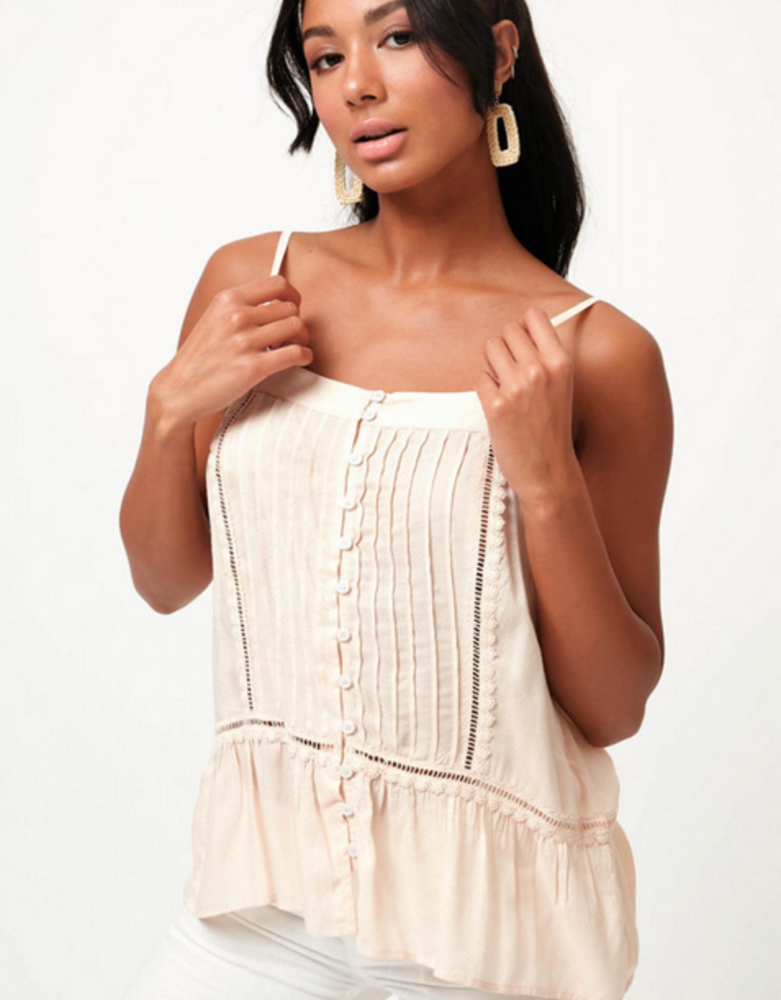 Lush Lace Trim Button Cami