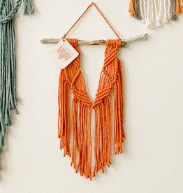 A Freyed Knot Macrame Spring Trio Wall Hanging - Orange