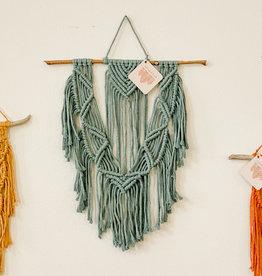 A Freyed Knot Macrame Spring Trio Wall Hanging - Seafoam