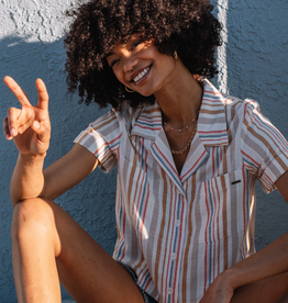 Volcom Cropped Stripe Button Up