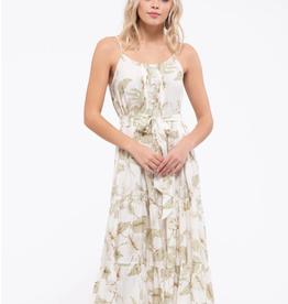 Blu Pepper Leaf Print Midi Dress