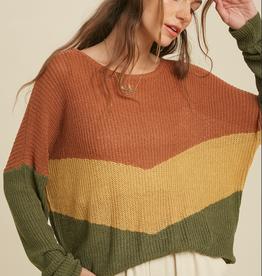 Wishlist Chevron Color Block Sweater