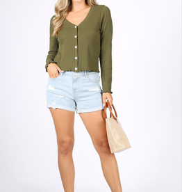 Ginger G Ribbed Button Top