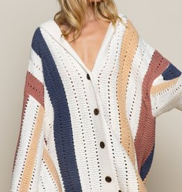 POL Clothing Hooded Color Block Cardi