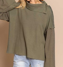 POL Clothing Button Sleeve Cowl Neck