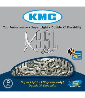 Cadena KMC X9SL Chain: 9 Speed 116 Links Silver