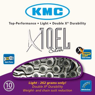 Cadena KMC X10SL Chain: 10 speed 116 Links Silver