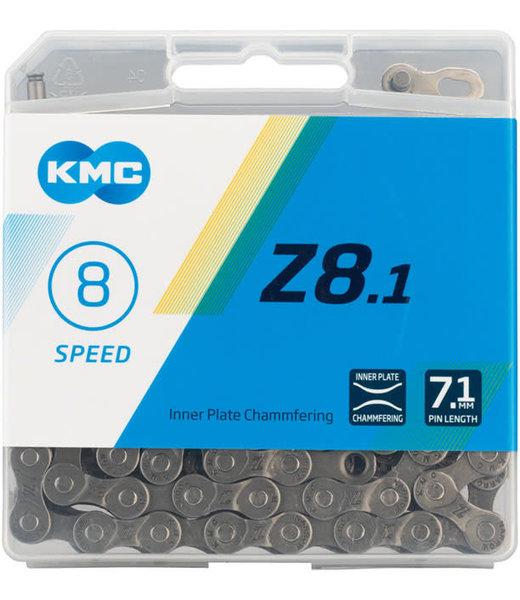 KMC Z8.1 Chain - 8-Speed, 116 Links, Gray