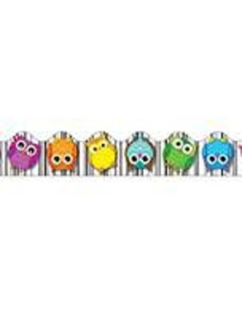 Colorful Owls Scalloped Border