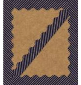 *Gold Glitter & Navy Stripes Scalloped Border