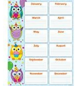 Colorful Owls Birthday Chartlet