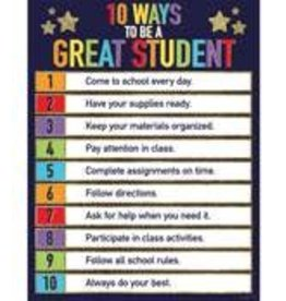 Glitter 10 Ways to Be a Great Student Chart