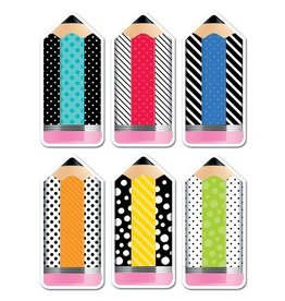 "*Bold & Bright Striped & Spotted Pencils 6"" Cut-Outs"