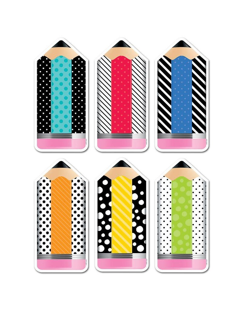 "Bold & Bright Striped & Spotted Pencils 6"" Cut-Outs"