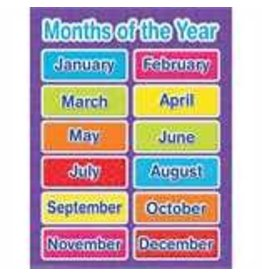Color My World Basic Learning - Months of the Year- chart