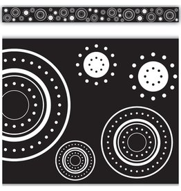 *Black & White Crazy Circles Straight Border Trim