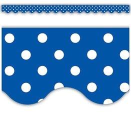 Blue Polka Dots Scalloped Border Trim