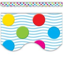 *Multicolor Polka Dots Scalloped Border Trim
