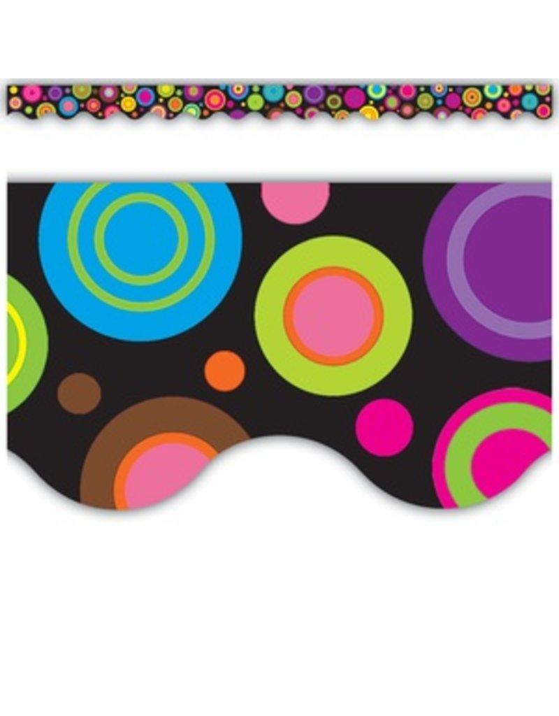 Colorful Circles Scalloped Border Trim